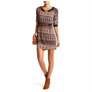 NEW Papillon Elbow Sleeve Printed Sweater Dress L